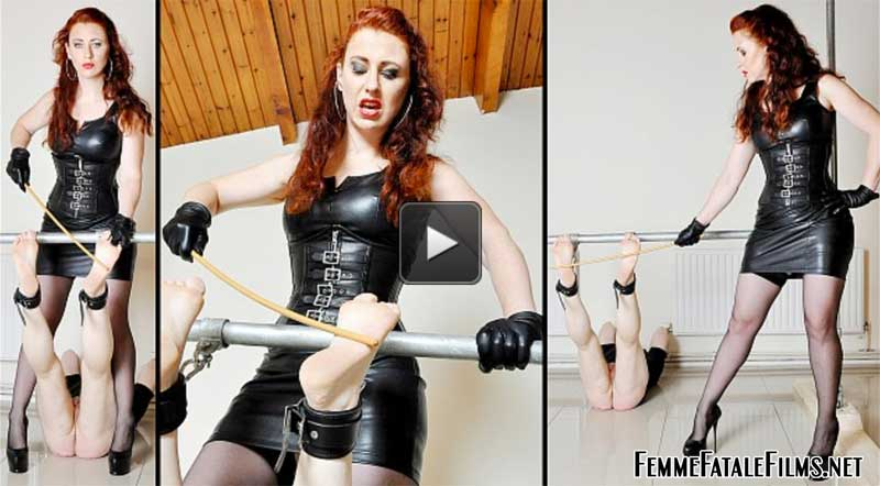 Featuring Mistress Lady Renee. It's rare to see bastinado done with any great force and for that matter precision, for the simple reason the victim will usually be unable to take the extreme levels of pain and will need to stop and limp away! In this session, Mistress Lady Renee devised a simple yet effective method for preventing her slave from getting away! This allowed her to give the slave the beating of his life with sadistic accuracy right on the sensitive soles of his feet. A gem of a session depicting extreme Fem Dom in it's purist form.