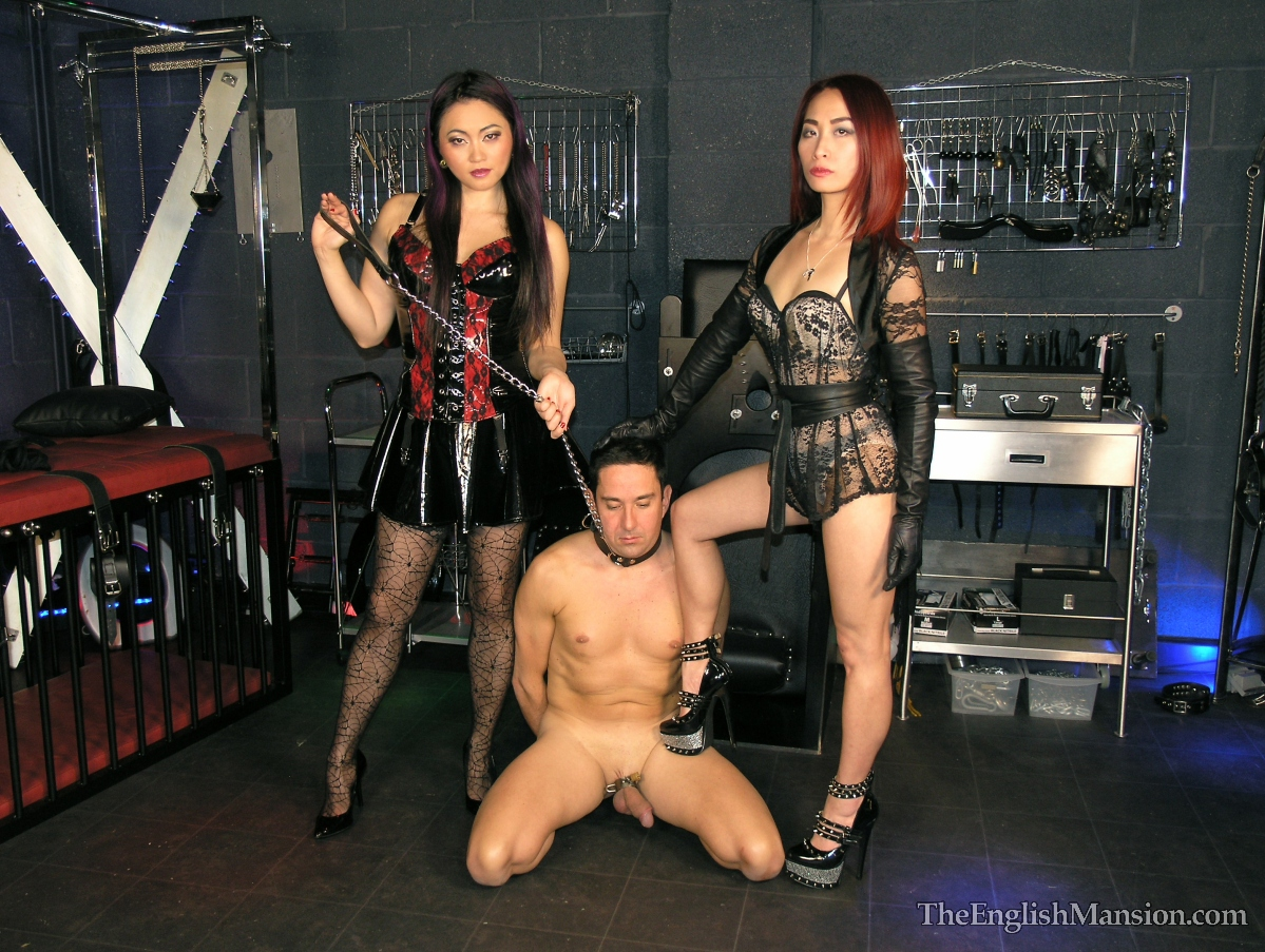 Double Fem Dom Dungeon Training Torment Two beautiful Mistresses use the dungeon to train their collared and naked slave at Mistress Sidiona's English Mansion