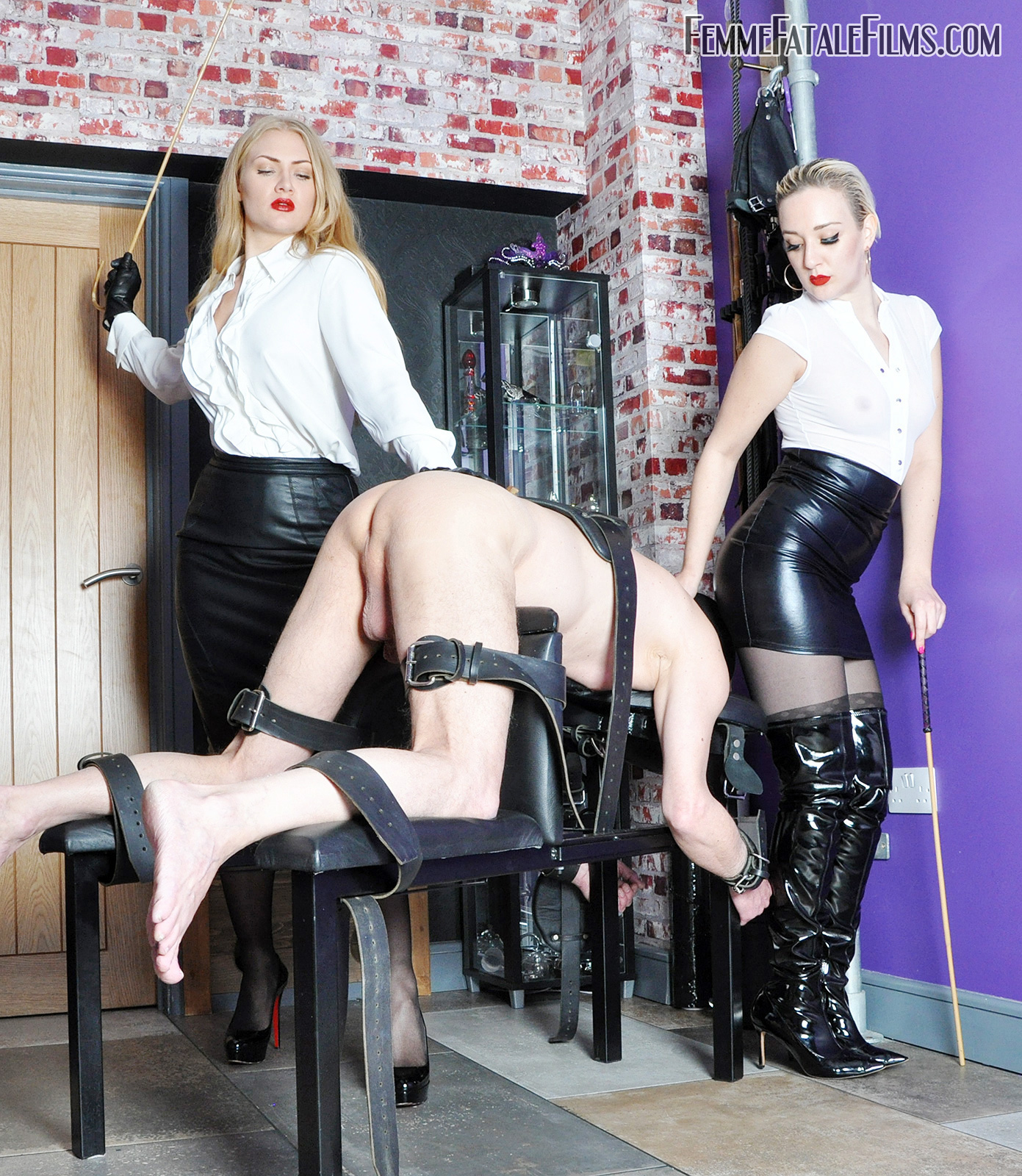 Double Domme Caning not knowing how many strokes you will get of the dreaded cane, not knowing when your punishment will end