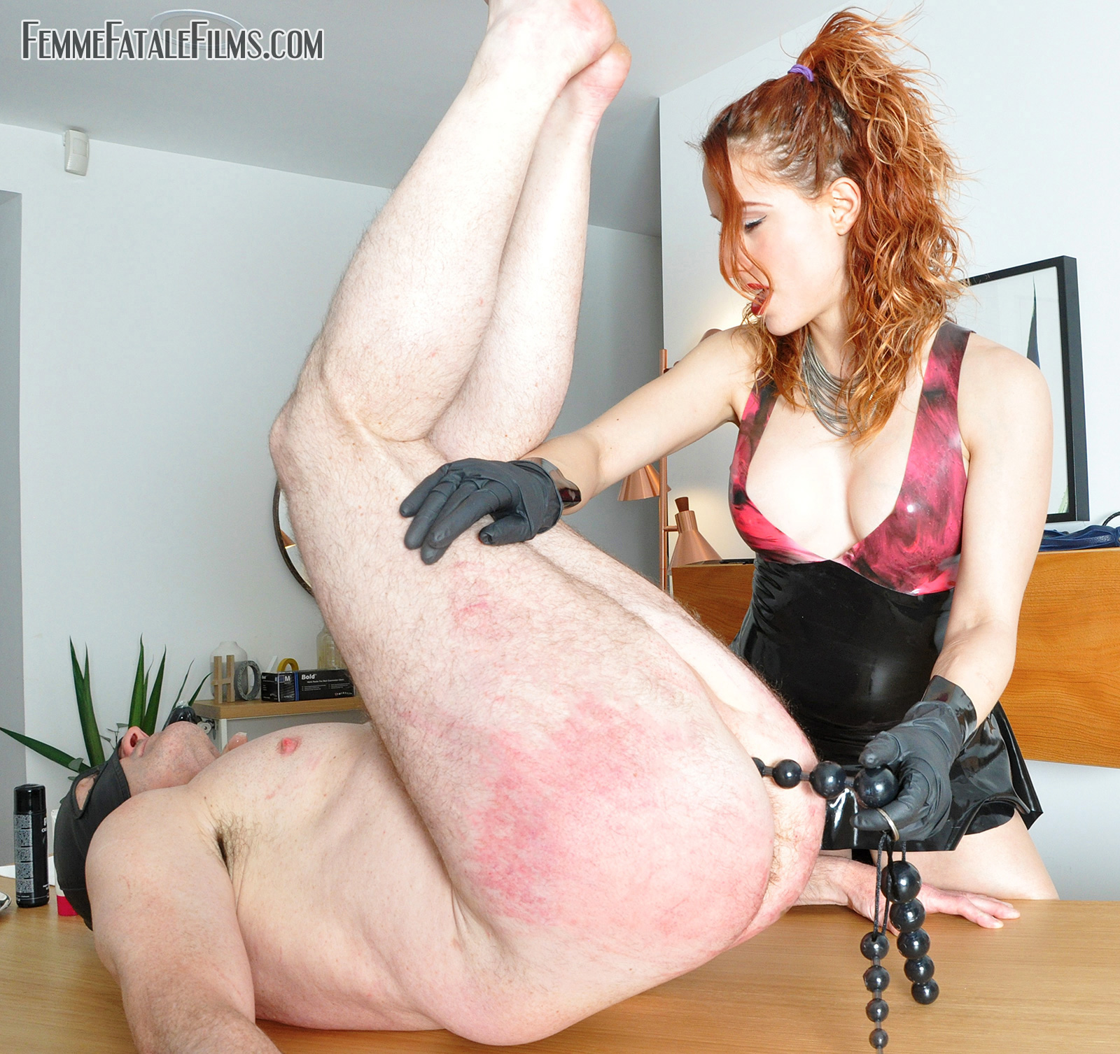 Butt Plugged cock and balls with CBT torture humiliation