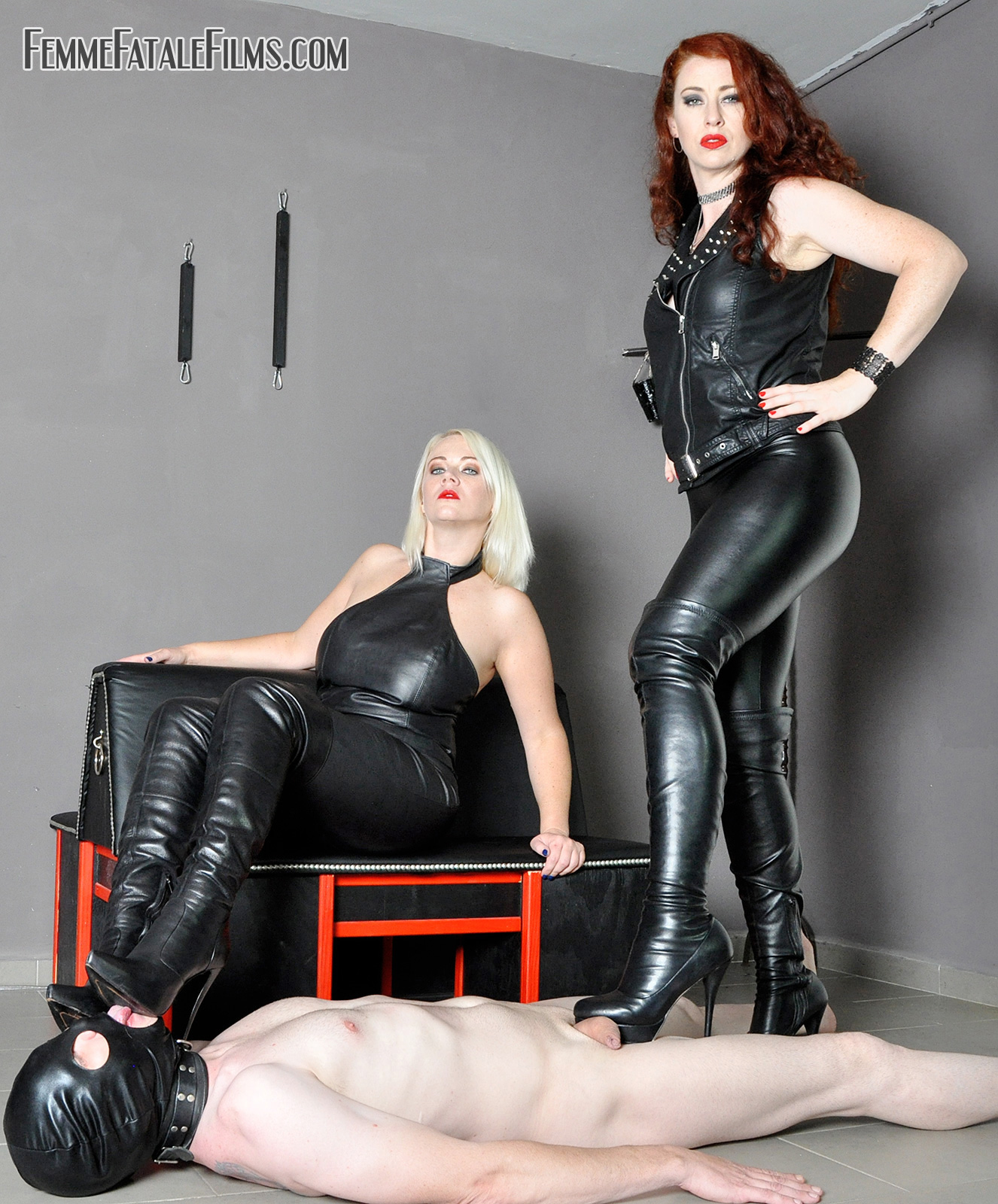 Brutal Boots: Featuring Divine Mistress Heather, Mistress Lady Renee crushes his cock, balls and nipples. They dig heels deep into nipples and his genitals
