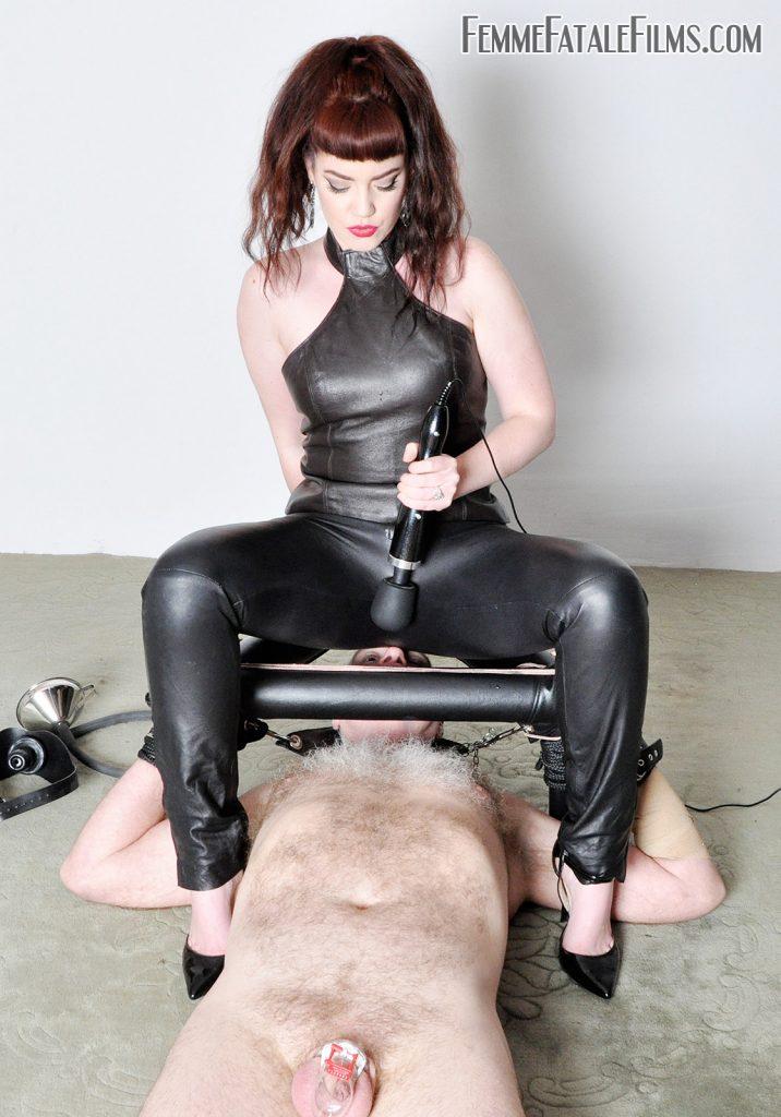 Queening her naked slave