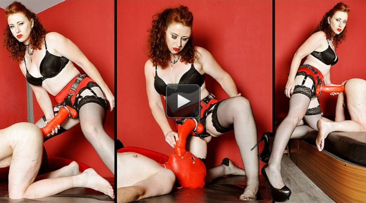 Big Red Big Red Strapon Featuring Mistress Lady Renee has the big red strap on and is out and ready to stretch the slave's ass!