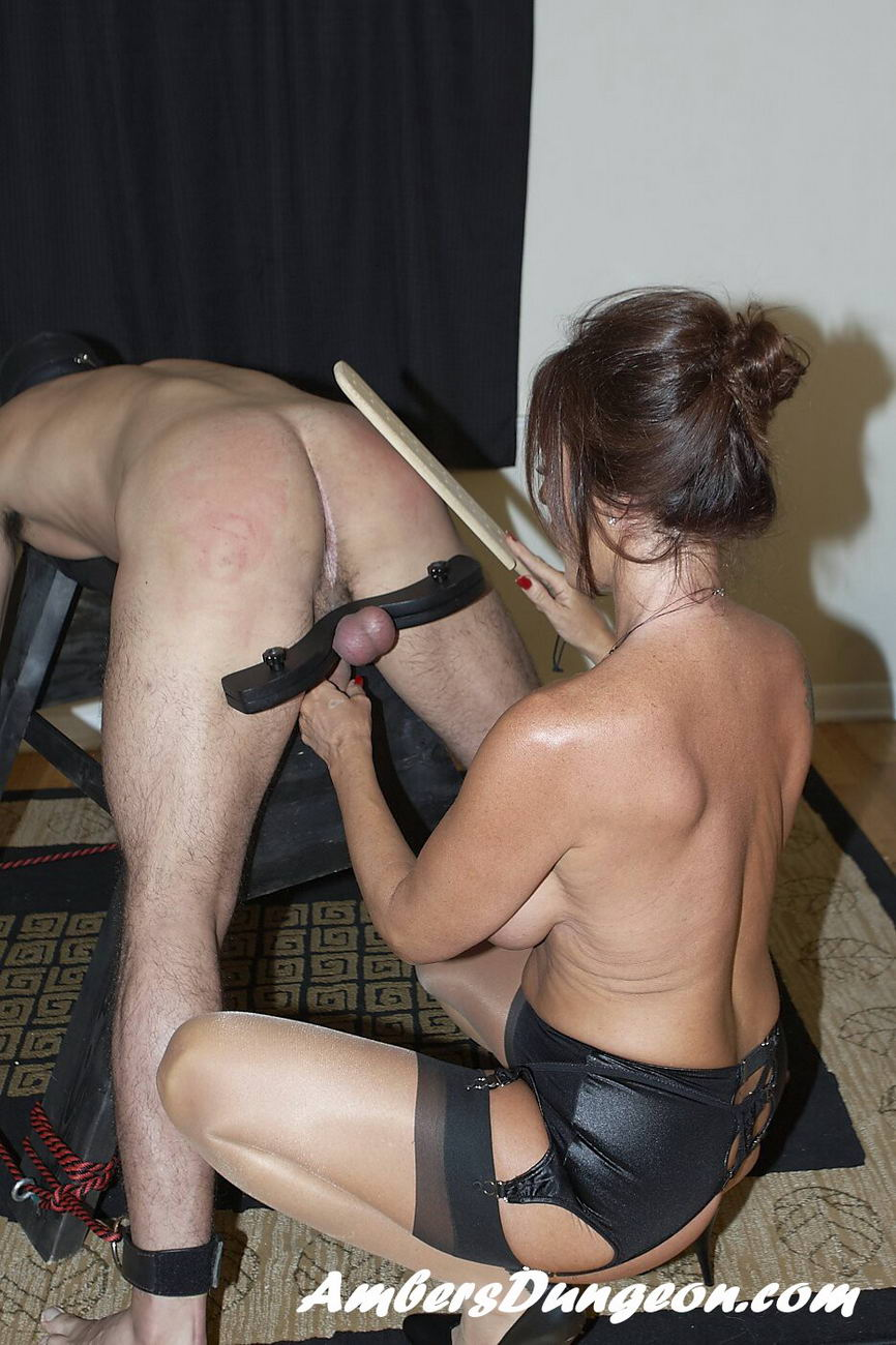 Mistress Steele Paddles His Balls