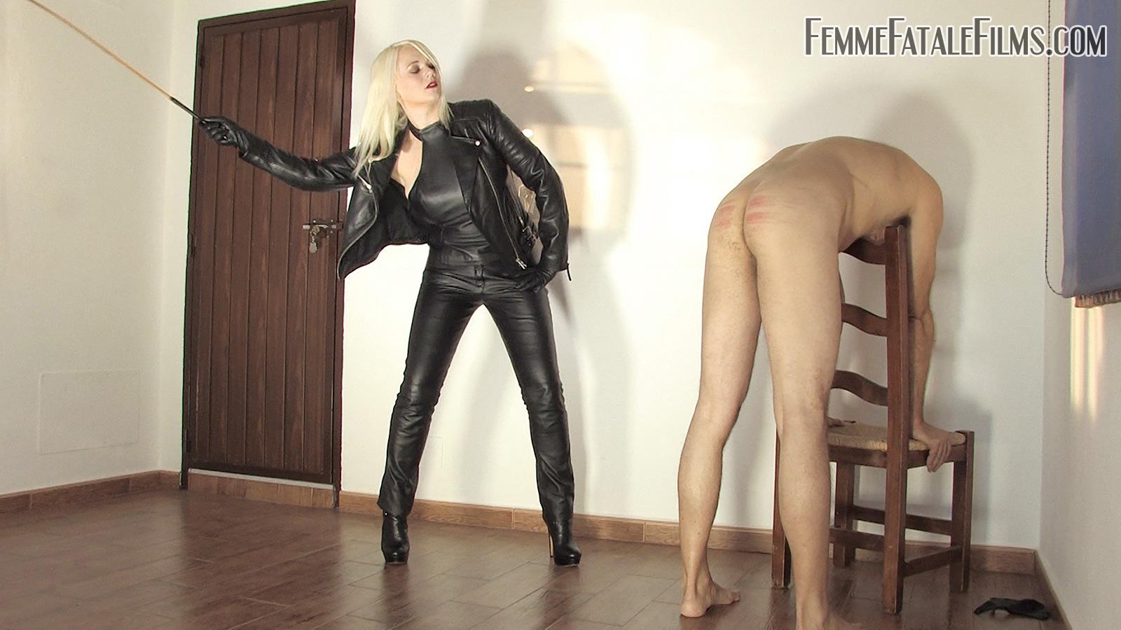 Goddess Heather Divine severely canes her slave