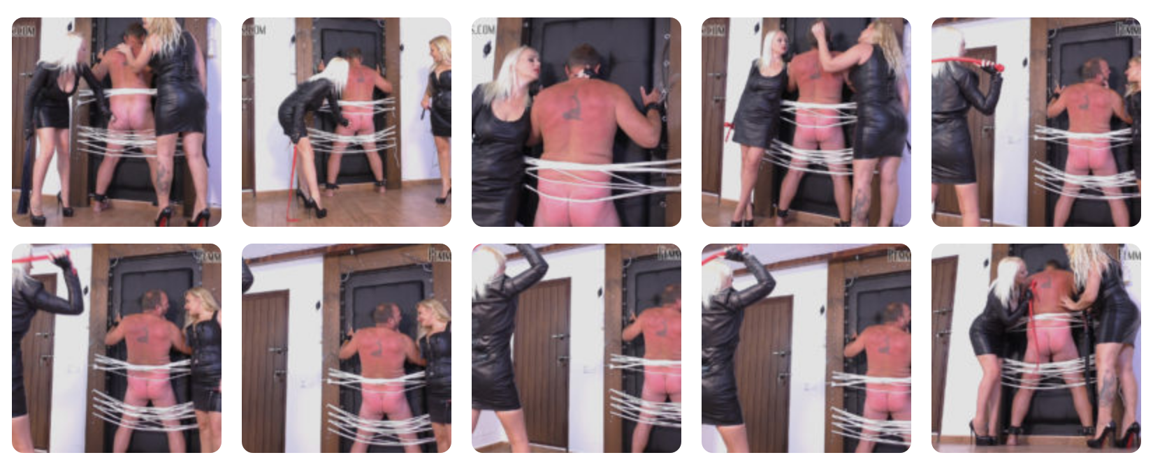 Featuring Divine Mistress Heather, Mistress Fox. A new slave has been strapped to the whip wall and given a thorough test with a variety of implements, including heavy leather floggers and then a vicious single tail, expertly wielded by Mistress Heather. Mistress Fox gives him blow after blow with a punishing cat o'nine tail whip, whilst Mistress Heather encourages him to suffer for them, whilst he stares deep into their sadistic eyes!