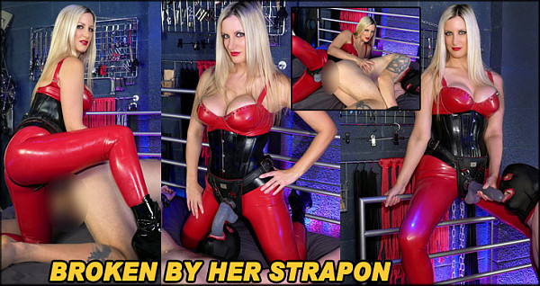 Wearing her super hot latex, Mistress Nikki is punishing her slave in the dungeon, for having perverted thoughts. She flogs his exposed back, hard and without mercy as he begs forgiveness. She then wears her biggest strapon, ready to use and abuse him, pushing the thick shaft into his mouth and face fucking him. He is then bent over and she fingers his ass with her latex gloved hands, more and more fingers being inserted until she decides he is ready for a heavy pounding pegging, which she delivers with skill and little mercy, as he is battered and broken by her thrusts.