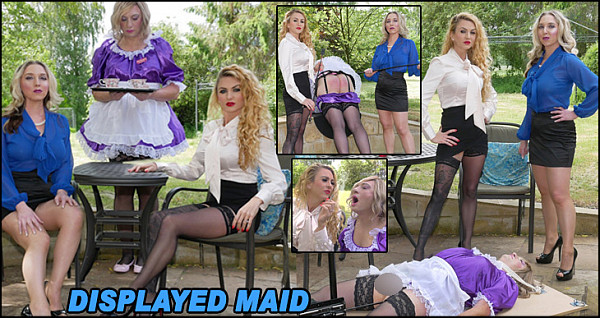 The beautiful, empowered Mistresses Sidonia and Suzanna are enjoying an afternoon in the Mansion grounds and waiting for their tea, which is eventually served by maid Popette, dressed in her pretty satin sissy dress. Mistress Sidonia examines the outfit, showing off the petticoats and stockings before they decide to give her a firm cropping for spilling the tea into the saucer. Miss Suzanna then smokes a cigarette using maid as her ashtray and spittoon as she is verbally chastised and her nipples tormented. Poor Popette is then placed into tight bondage , her ass filled by the fucking machine as her engorged clitty is rubbed and she is treated to a view of Mistress Sidonia's special medicine, which excites the maid so much she is soon emptying her cummies out.
