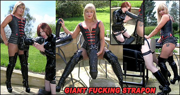 Lifestyle queen of huge rubber cocks, Dom Strapon, shows off her biggest weapons of ass destruction to use on Kinky Steph's well trained arsehole. For the warm up she uses her tongue to worship the big dong and to get a close up view of the anal invader before lubing it and hole with copious quantities of Vaseline. Steph is then slowly stretched and fucked, reacting with anal orgasms over and over again, much to Dom Strapon's delight.