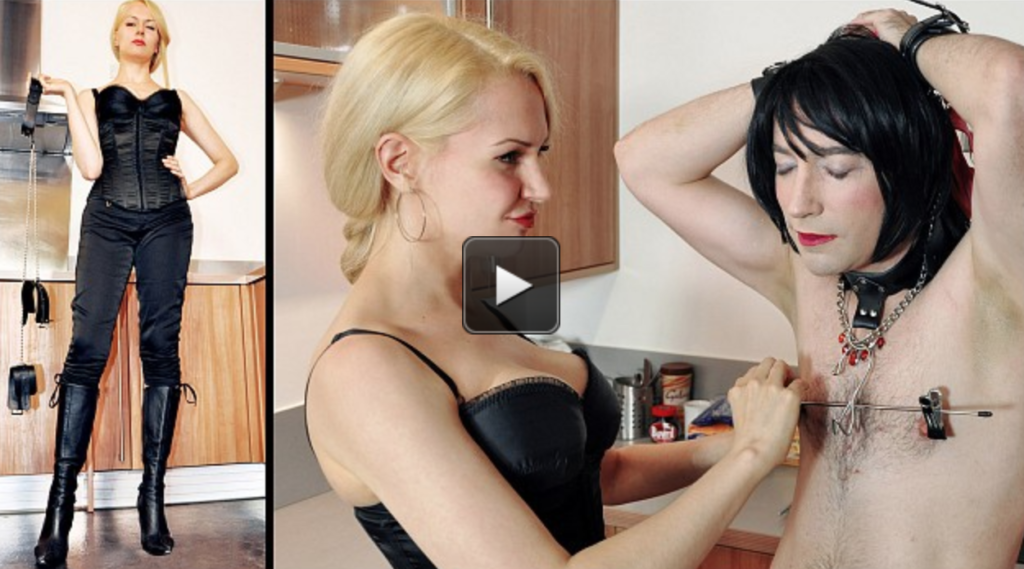 Mistress de Lacy comes home to find her kitchen in a disgraceful state. Her house slave has not been attending to his duties, so he is transformed into her maid and put to work. A little punishment motivation is in order to ensure the work gets done to Mistress Eleise's exacting standards.