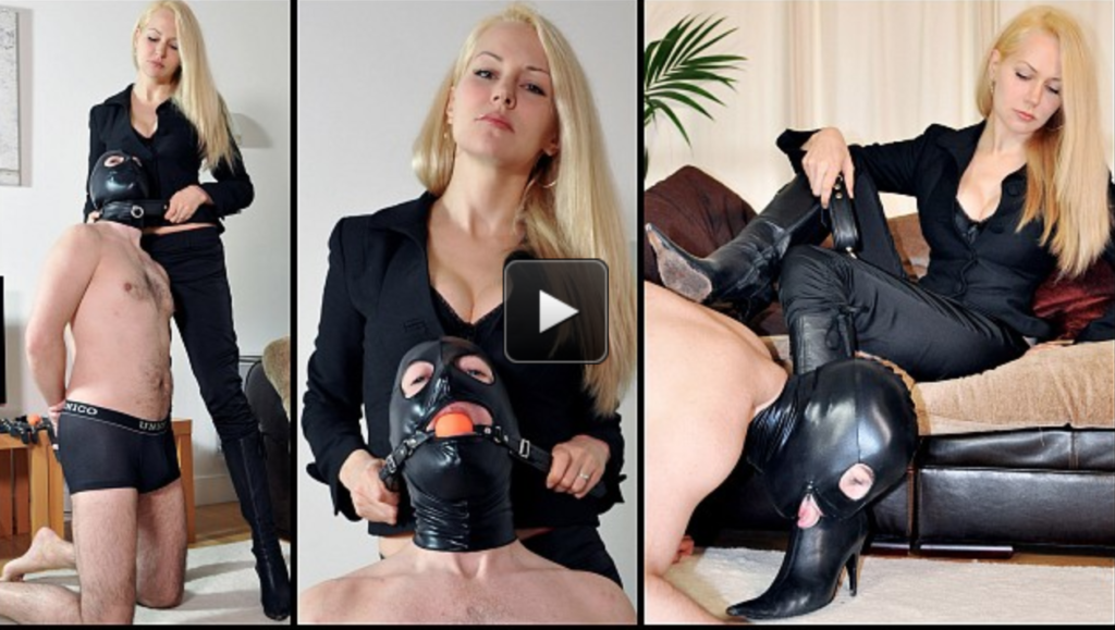Featuring Mistress Eleise de Lacy. The slave needs some training. He's collared and taught some basic positions before being made to strip, and is then secured in chastity. He is now the property of Mistress Eleise. After being trained how to walk to the heel of her boots, he is given the privilege of worshipping them, making sure he licks every inch.