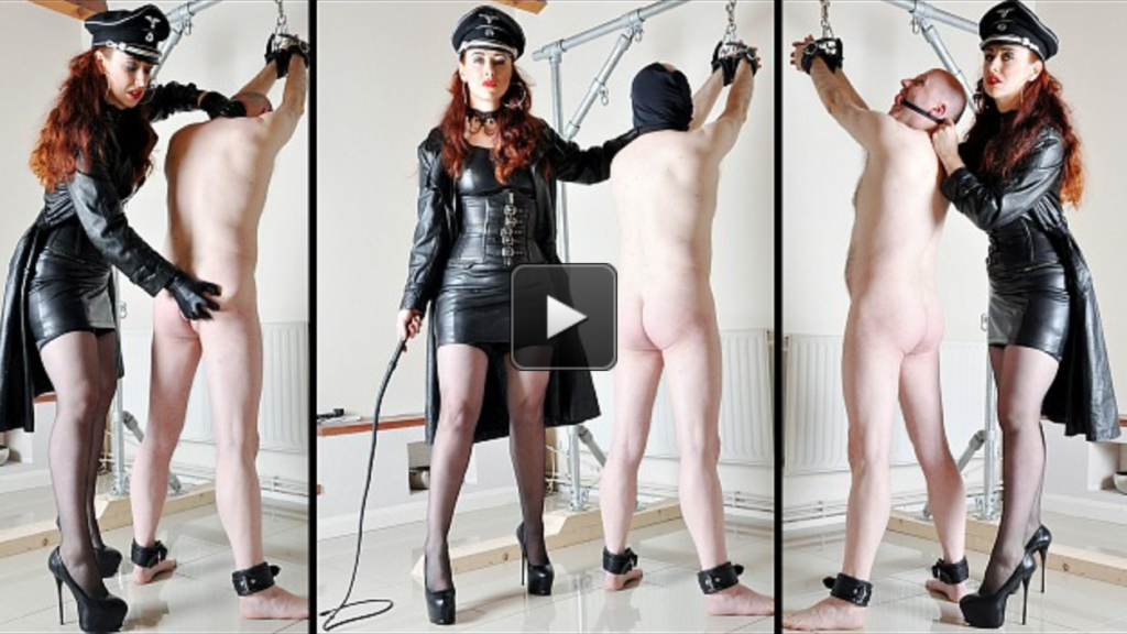 A session showing the multi talented Mistress Lady Renee wielding a single tail whip with precision and extreme power! Shackled to the bondage frame, the slave prisoner takes a heavy beating from his leather clad uniformed captor, with the intensity not just from the extreme level of his physical punishment, but also the psychological mind fucking she puts him through.