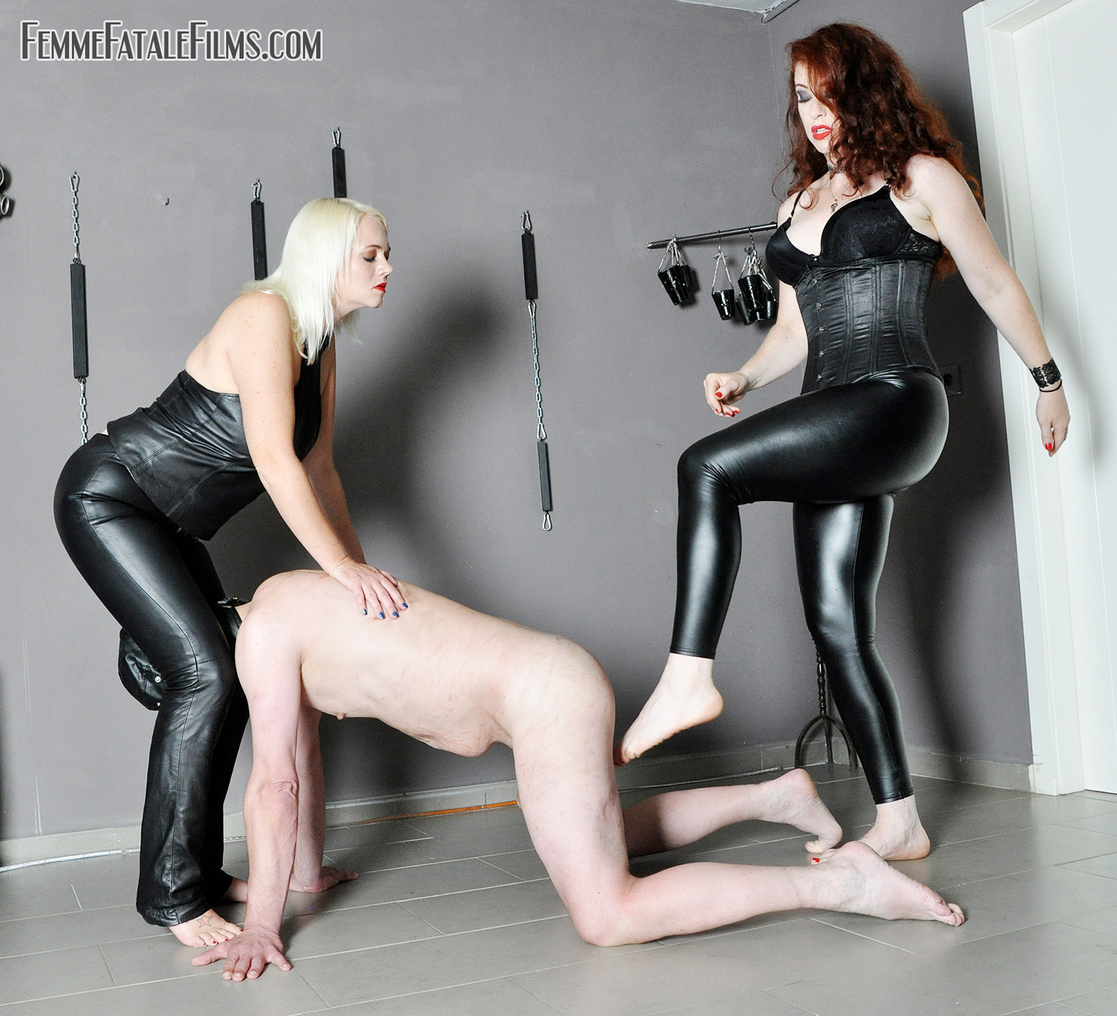 an extreme ball crushing experience with Mistress Heather and Mistress Lady