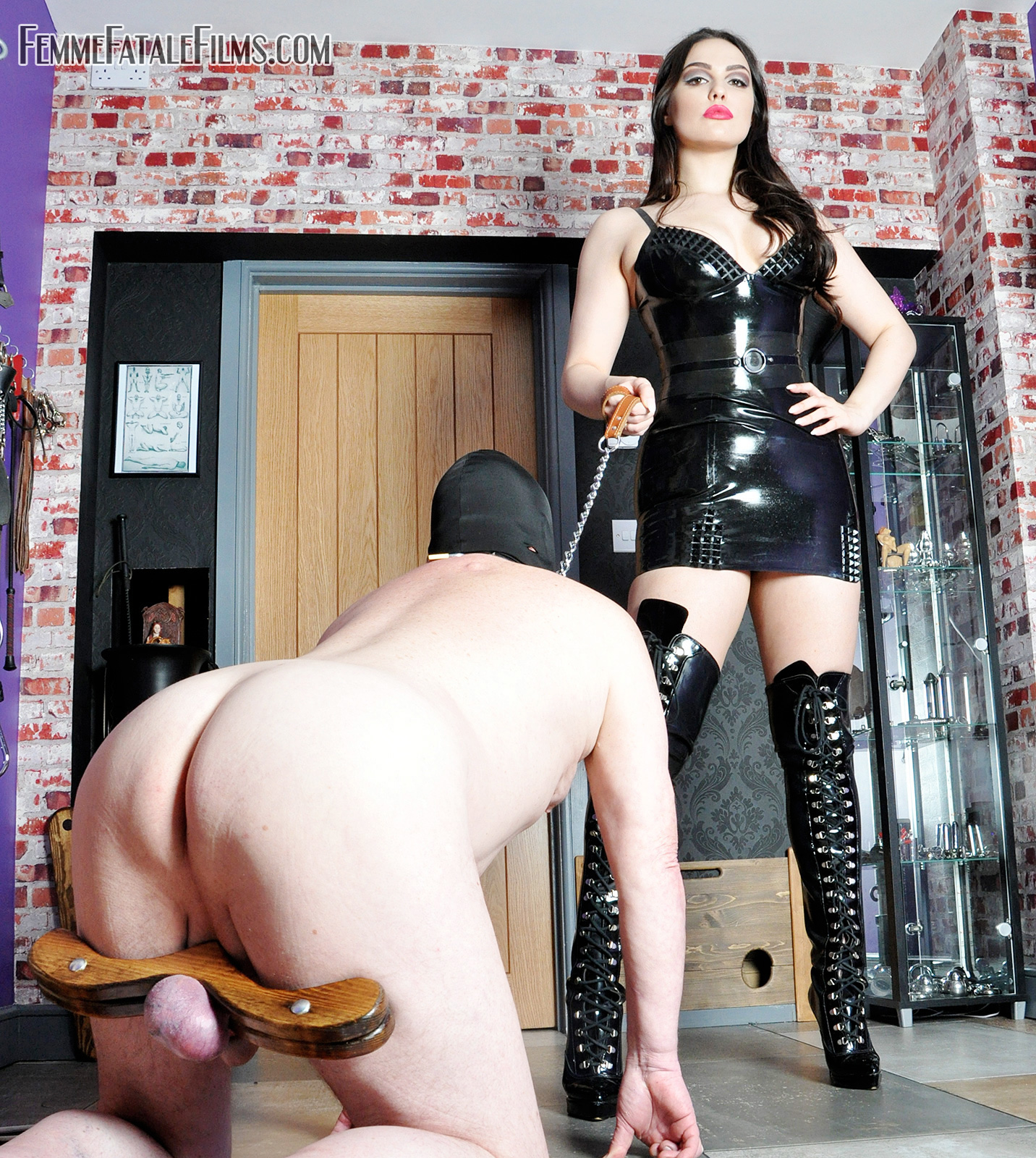 CBT Ball Stretching Swollen Testicles: Mistress Serena tortures a slave's cock and balls by painfully stretching them and making him suffer