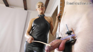 Clamped Cock Caning - The Hunteress