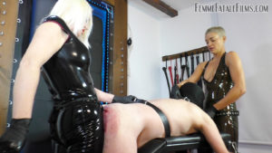 Featuring Divine Mistress Heather, The Hunteress. The dirty fuck slut slave needed a good hard fucking up with the biggest strap-on cocks we owned - so after making him gag on both our cocks, he was flung over the fuck bench and penetrated deep and hard with no mercy given for his screams of agony! From one cock to mouth to another monster cock, he really got what was coming to him!