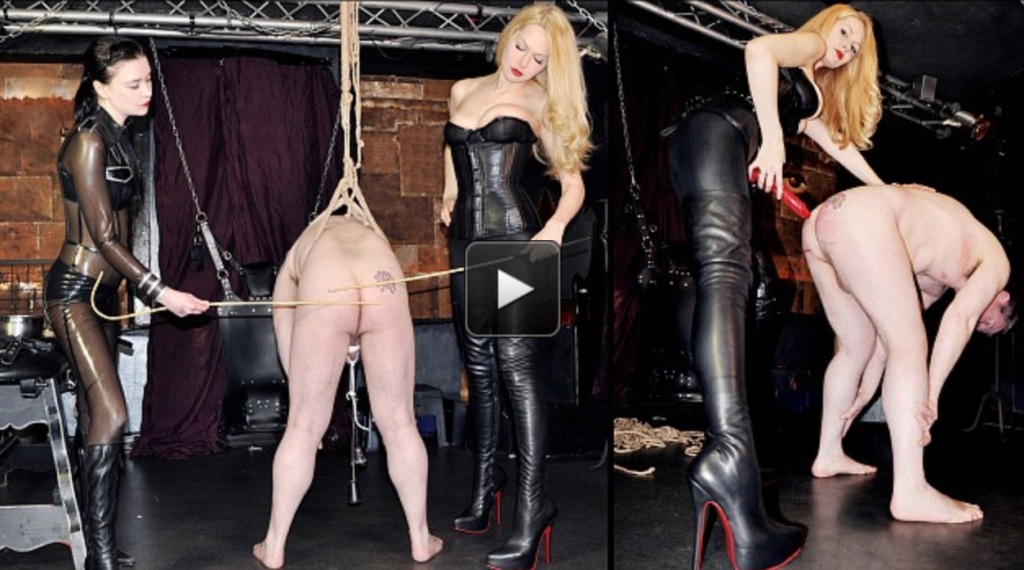 Featuring Miss Severity Myers, Mistress Eleise de Lacy. Mistress Eleise and Miss Severity Myers have a challenge for their slave. He needs to hold his position whilst being tormented, otherwise he will be caned - and if he fails to maintain position whilst being caned, he will be spit roasted! Let the games begin...