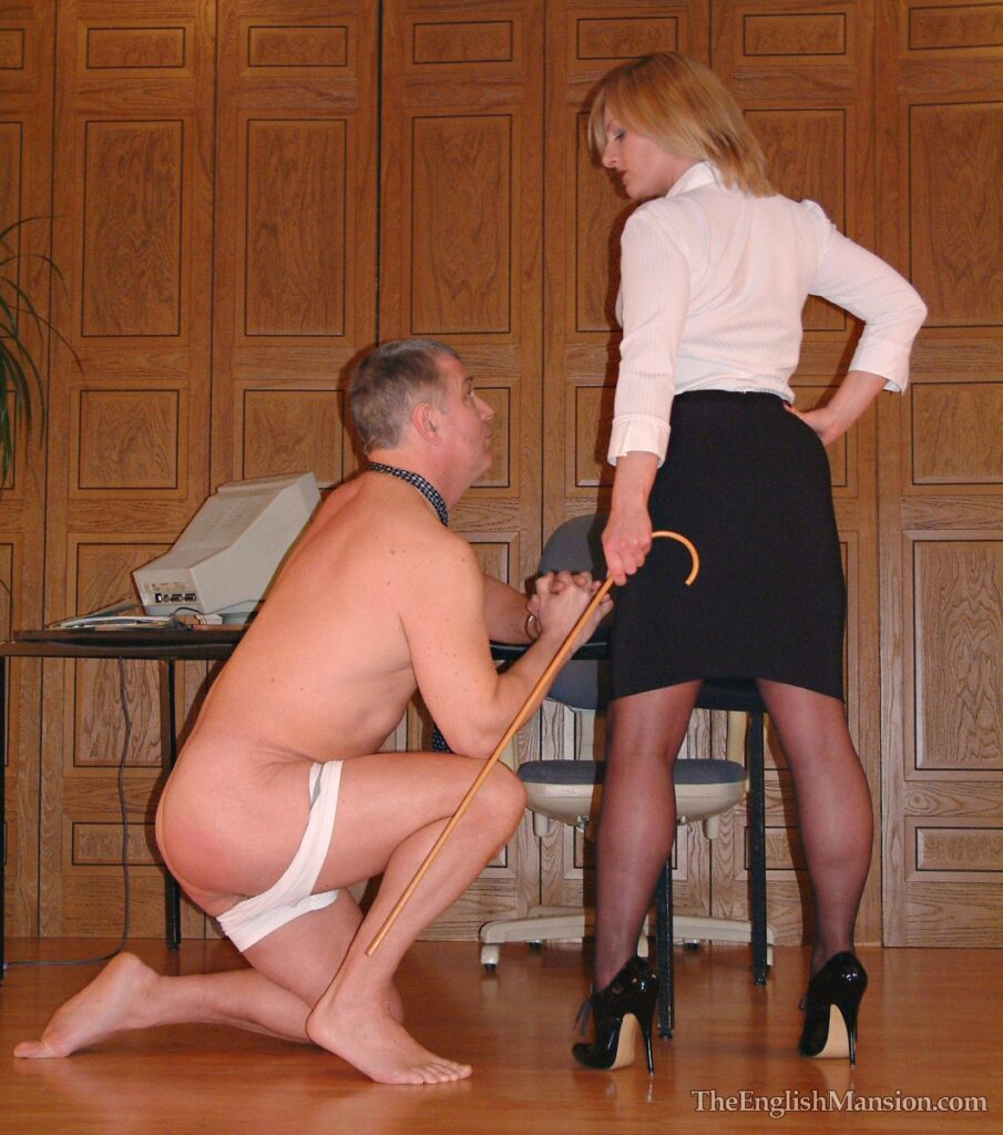 In stockings secretary A short